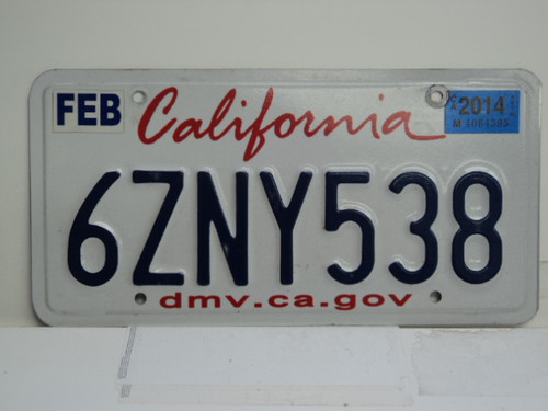 2014 CALIFORNIA Lipstick License Plate 6ZNY538