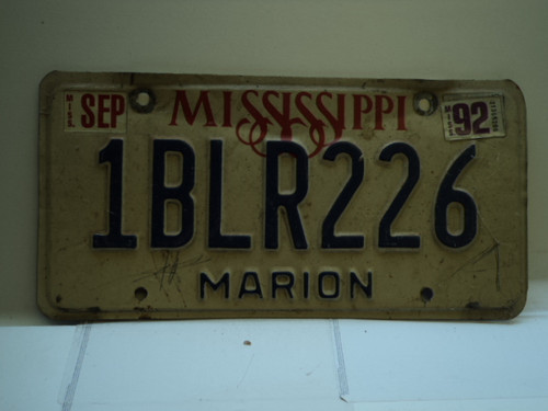 1992 MISSISSIPPI License Plate 1BLR226