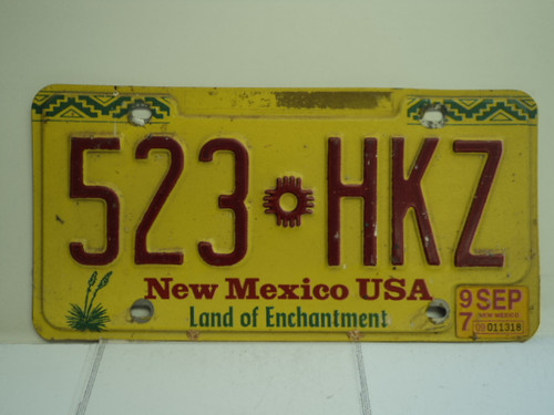 1997 NEW MEXICO Land of Enchantment License Plate 523 HKZ
