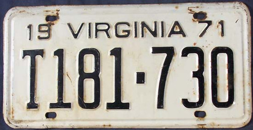 1971 Virginia Truck T181-730 License Plate