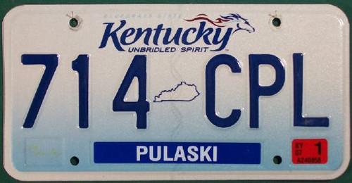 2007 Jan Pulaski Co Kentucky License Plate 714 CPL