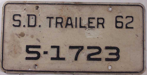 1962 SD South Dakota Trailer 5-1723 License Plate