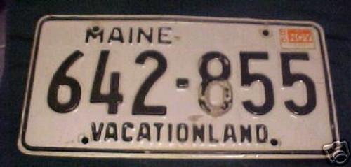 1986 Nov Maine 642-855 Vacationland License Plate