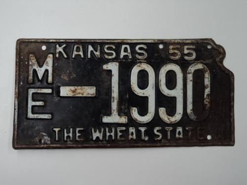 1955 KANSAS State Shaped License Plate ME 1990