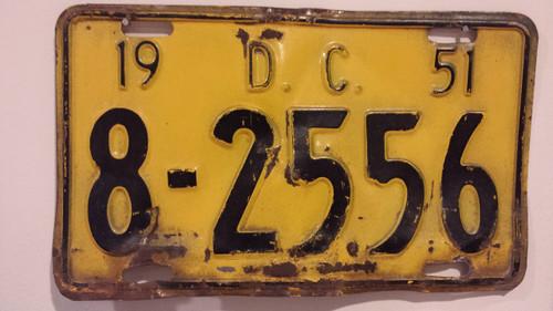 1951 District Columbia Washington DC License Plate
