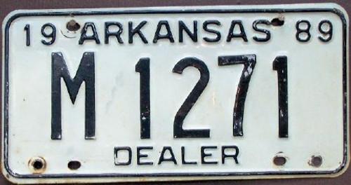 1989 Arkansas M 1271 DEALER License Plate