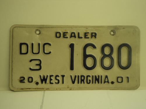 2001 WEST VIRGINIA Dealer Used Car License Plate DUC 3 1680