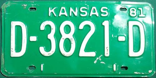1981 Kansas License Plate Dealer D-3821-D