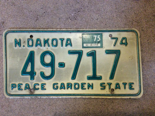 1974 1975 North Dakota 49-717 License Plate