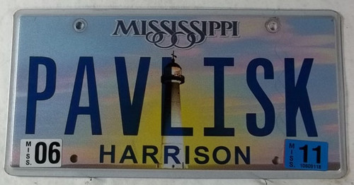 2011 June Mississippi Vanity License Plate PAVLISK