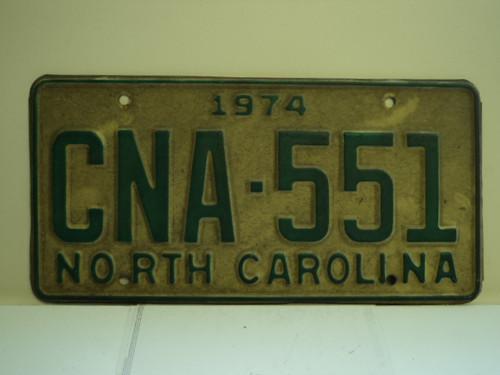 1974 NORTH CAROLINA License Plate CNA 551