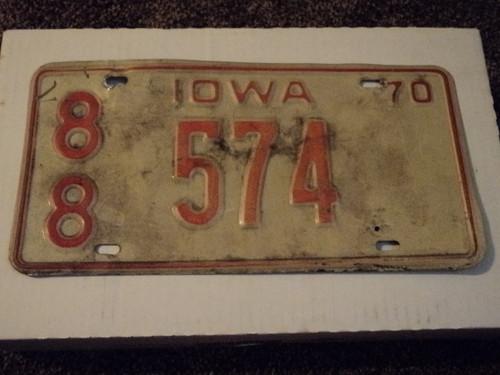 1970 IOWA License Plate 88 574