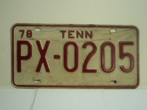 1978 TENNESSEE License Plate PX 0205