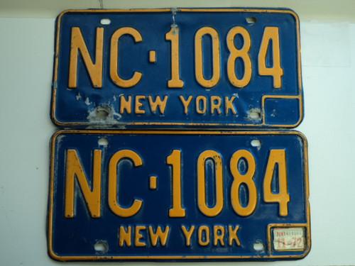 PAIR 1972 NEW YORK License Plates NC 1084