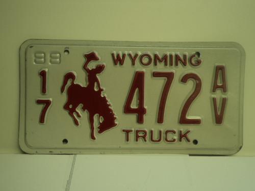 1988 WYOMING Truck License Plate 17 472 AV