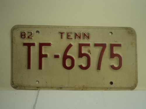 1982 TENNESSEE License Plate TF 6575