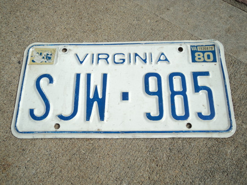 1980 VIRGINIA License Plate SJW 985