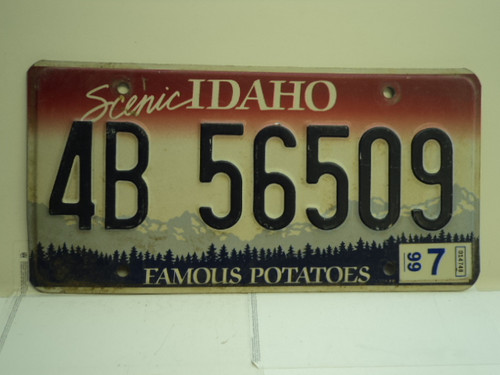 1999 IDAHO Famous Potatoes License Plate 4B 56509