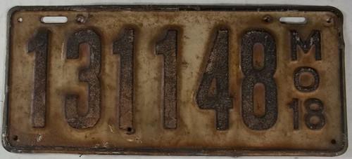DMV Clear 1918 MISSOURI Passenger License Plate YOM Clear 131-148 MO