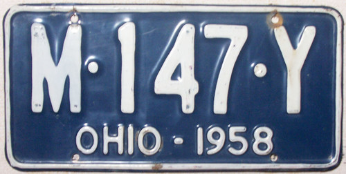 1958 Ohio M-147-Y License Plate
