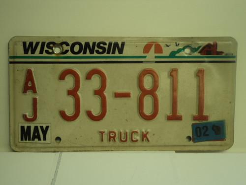 2002 WISCONSIN Truck License Plate AJ 33 811