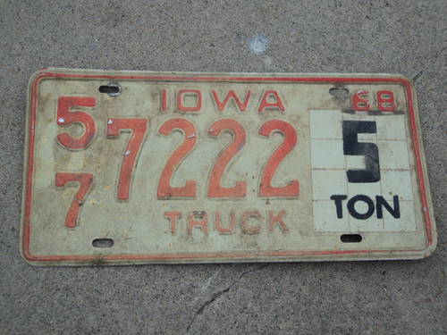 1968 IOWA 5 TON Truck License Plate 57 7222