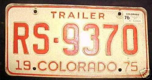 1976 Jefferson Colorado License Plate RS-9370