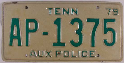 1979 Tennessee AUX POLICE License Plate AP-1375