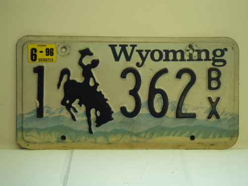 1996 WYOMING Bucking Bronco License Plate 1 632 BX