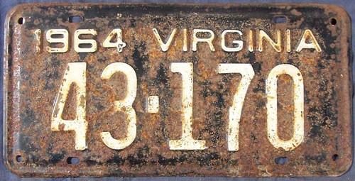 1964 Virginia 43-170 License Plate VA