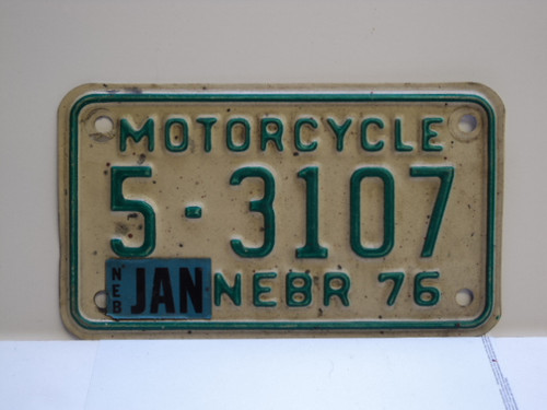 1976 NEBRASKA Motorcycle License Plate 5 3107 January