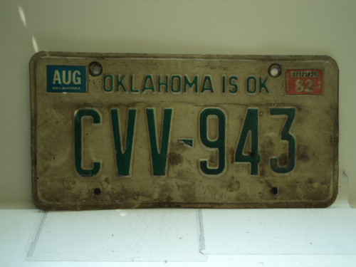 1982 OKLAHOMA License Plate CVV 943