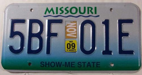 November 2009 Missouri License Plate 5BF-01E