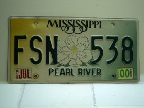 2000 MISSISSIPPI Magnolia License Plate FSN 538