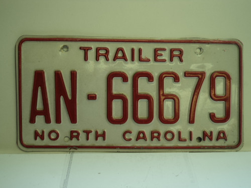 NORTH CAROLINA Trailer License Plate AN 66679