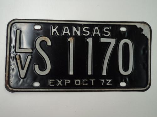 1972 KANSAS License Plate LV S 1170