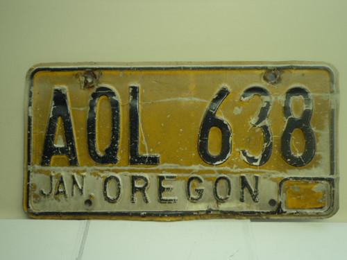 OREGON License Plate AQL 638