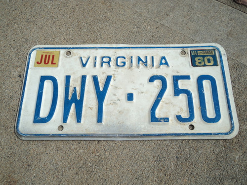 1980 VIRGINIA License Plate DWY 250