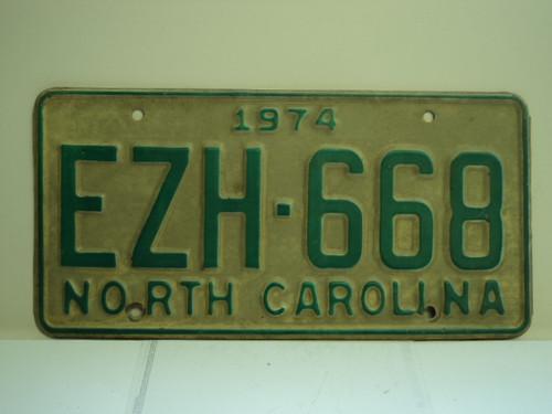 1974 NORTH CAROLINA License Plate EZH 668