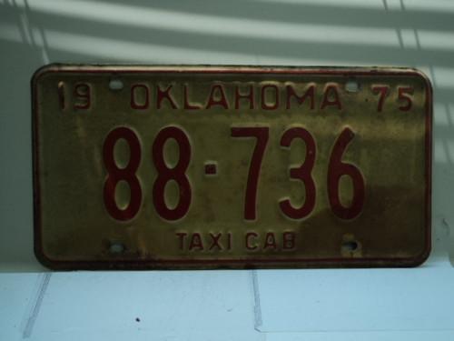 1975 OKLAHOMA Taxi Cab License Plate 88 736