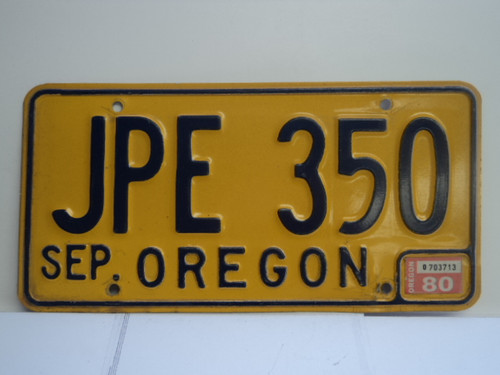1980 OREGON License Plate JPE 350