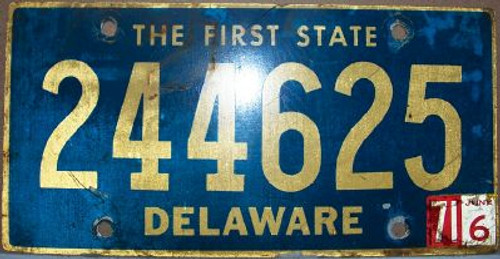 1971 Jun Delaware 244625 First State License Plate