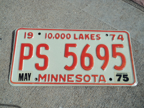 1974 1975 MINNESOTA 10,000 Lakes License Plate PS 5695