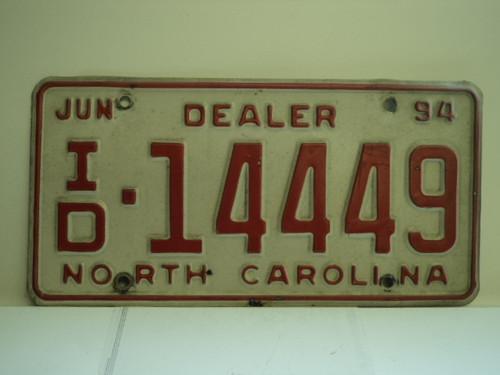 1994 NORTH CAROLINA Dealer License Plate ID 14449