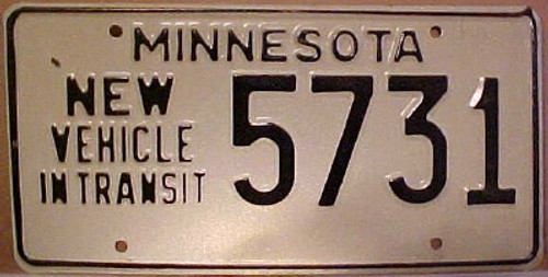 1980's Minnesota New Vehicle In Transit License Plate 5731