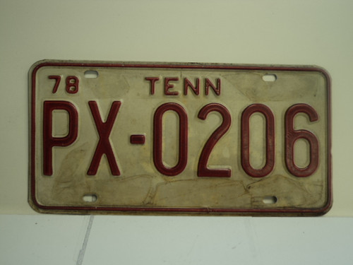 1978 TENNESSEE License Plate PX 0206