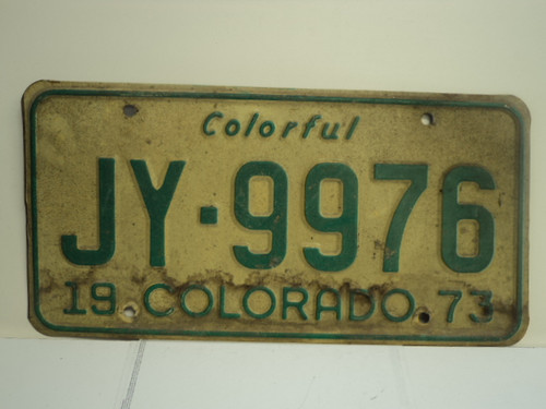 1973 COLORADO Colorful License Plate JY 9976
