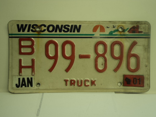 2001 WISCONSIN Truck  License Plate BH 99 896