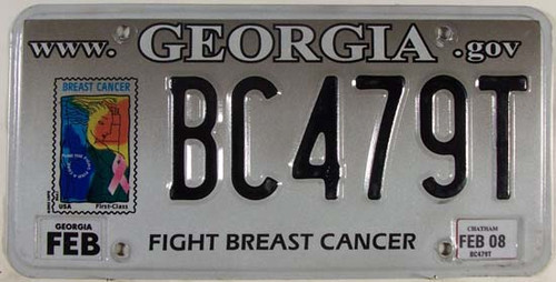 2008 Georgia Chatham Breast Cancer License Plate