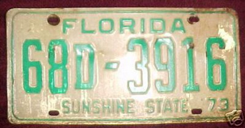 1973 Florida License Plate 68D3916